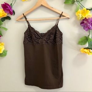 Banana Republic Brown Tank Top w/ Lace Detail